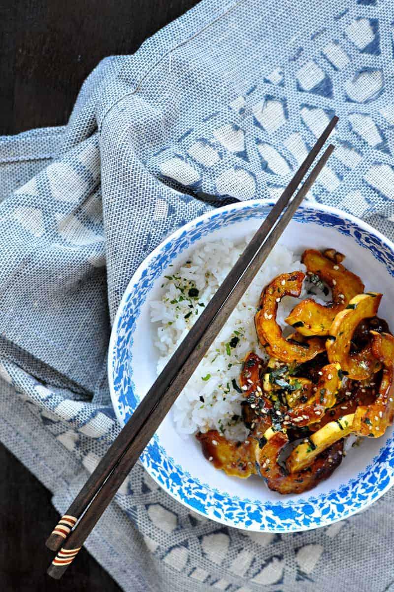 fried honey-garlic delicata with white miso + furikake // #glutenfree #fall #vegan #QSquaredNYC