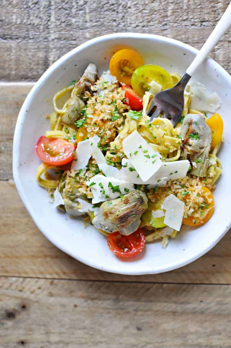 Grilled Artichoke and Cherry Tomato Pasta with Parm, Parsley + Garlic ...