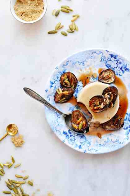 Brown Sugar Panna Cotta with Honey-Balsamic Roasted Figs + Toasted ...