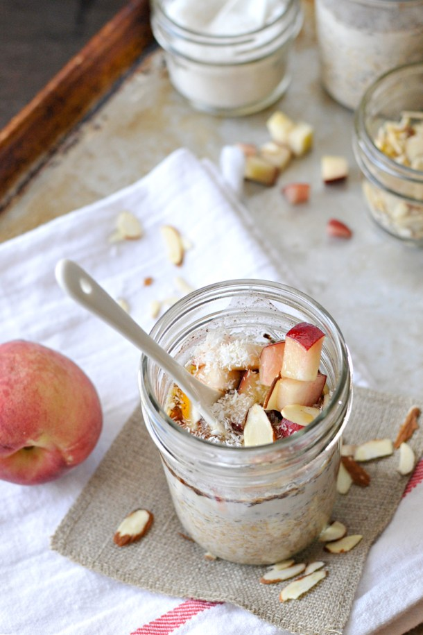 Easy Steel-Cut Overnight Oats {peaches + almonds + coconut + maple} // the pig & quill