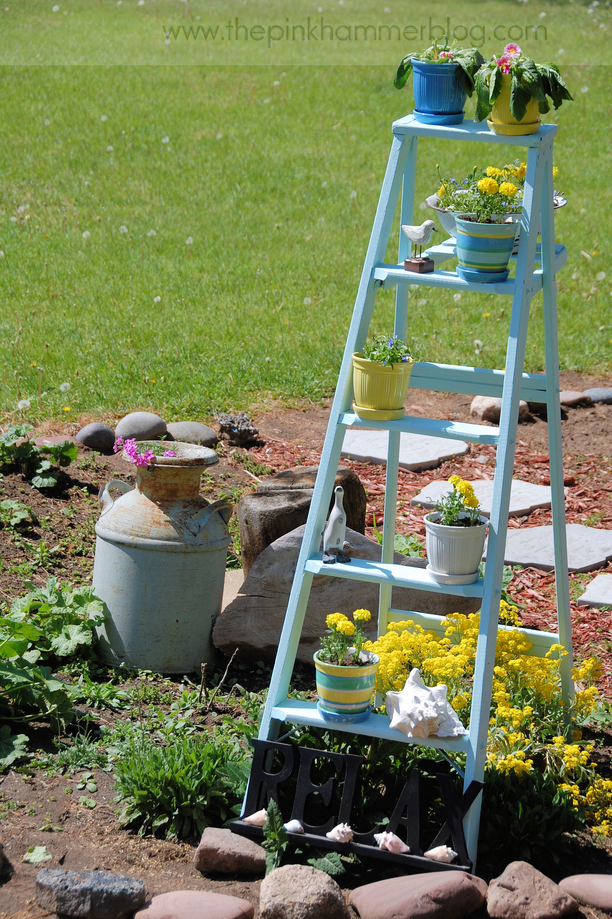 Build Plant Stand How To Turn An Old Ladder Into A Beautiful Plant Stand
