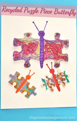 Butterfly Craft made out of recycled puzzle pieces