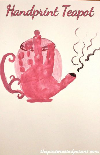 Handprint Teapot - Kid's Crafts. This would be a cute idea for Mother's Day