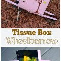 Working Wheelbarrow made out of a tissue box. Cute fall crafts for kids.