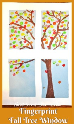 Fingerprint Fall Tree Window Craft - Fall Crafts For Kids
