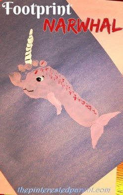 Footprint Narwhal Craft - Kid's Footprint Crafts from A - Z N is for Narwhal