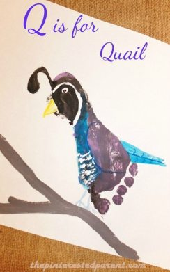 Q is for Quail footprint craft