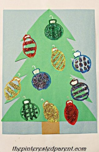 Christmas Ornament toilet paper roll stamps