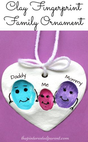 Clay Family Fingerprint Ornaments - a sweet and easy arts & craft idea and keepsake that the kids or the whole family can make together