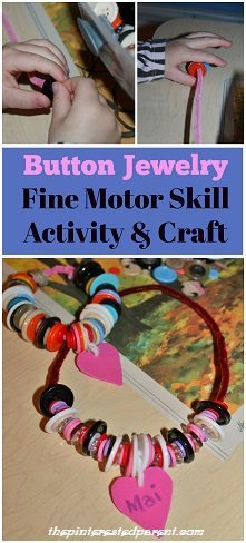 Threading buttons to make necklaces & bracelets. Great fine motor activity & craft