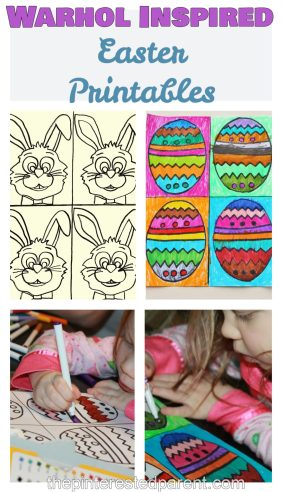 Andy Warhol Inspired Easter arts & crafts projects for kids with free printables for coloring or painting .