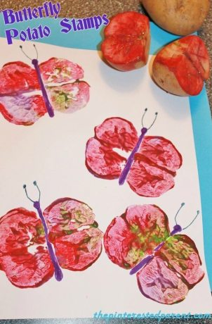 Butterfly Potato Stamps for kids - spring and summer craft ideas