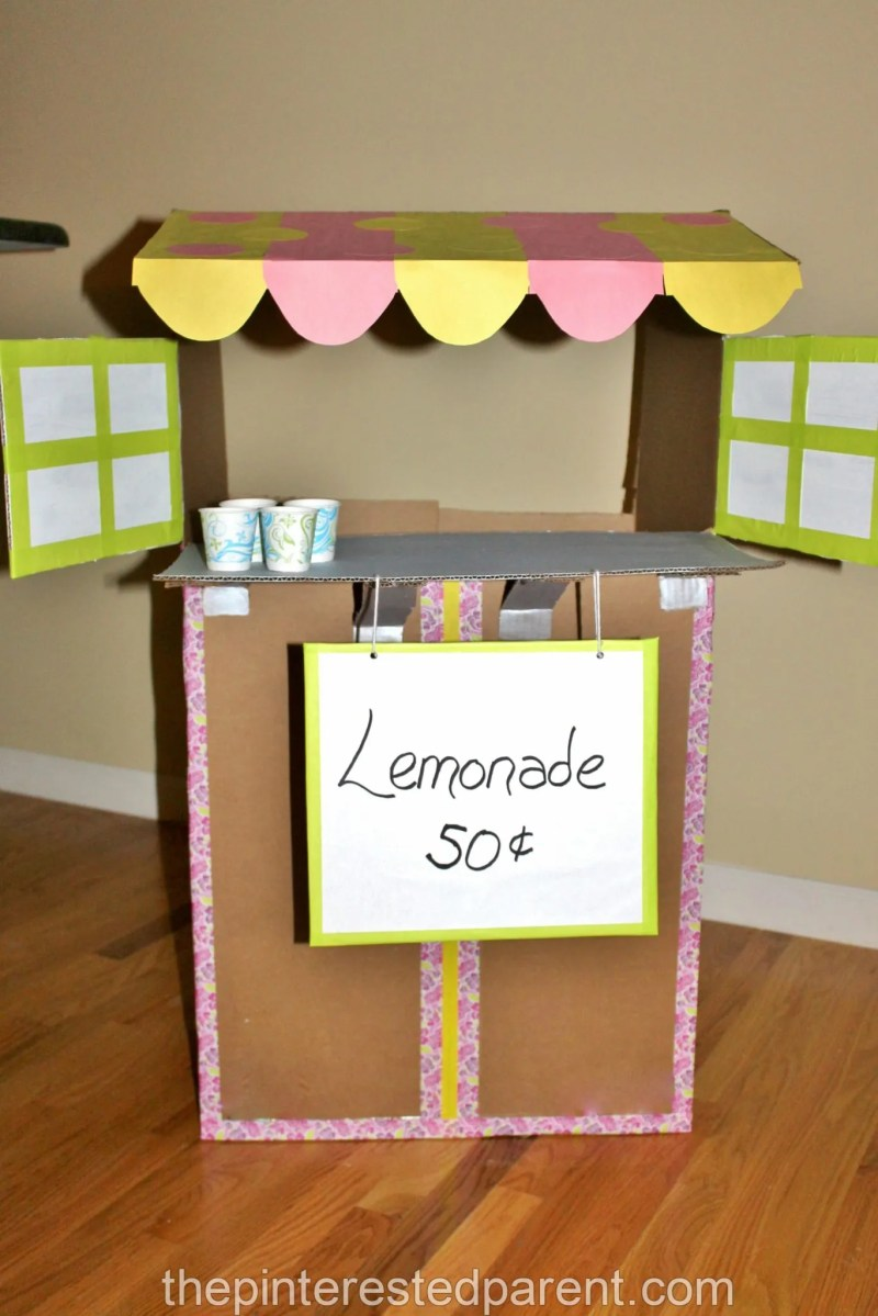 Cardboard lemonade stand the pinterested parent for Craft box for toddlers