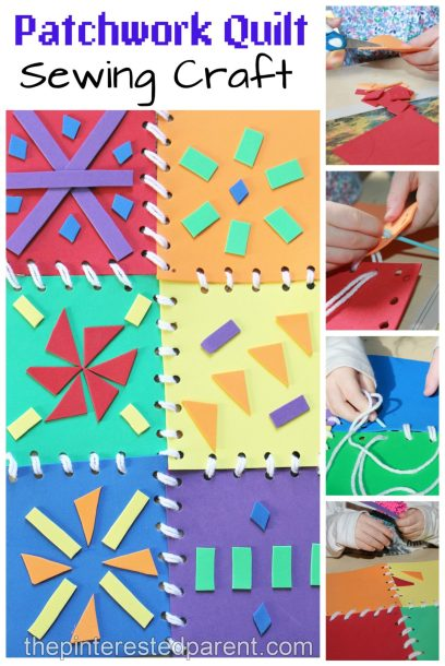 This is a great fine motor skill activity as well as a bright and pretty arts & craft project for the kids. Patchwork quilt sewing with foam pieces.