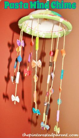 Pasta wind chime craft for kids
