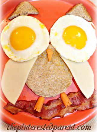 Owl shaped breakfast - sunnyside up egg eyes, toast, cheese & bacon - creative food ideas for the kids