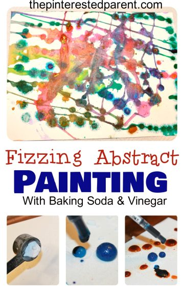 Baking soda & vinegar reactions made this fun abstract painting for kids. Science & process art