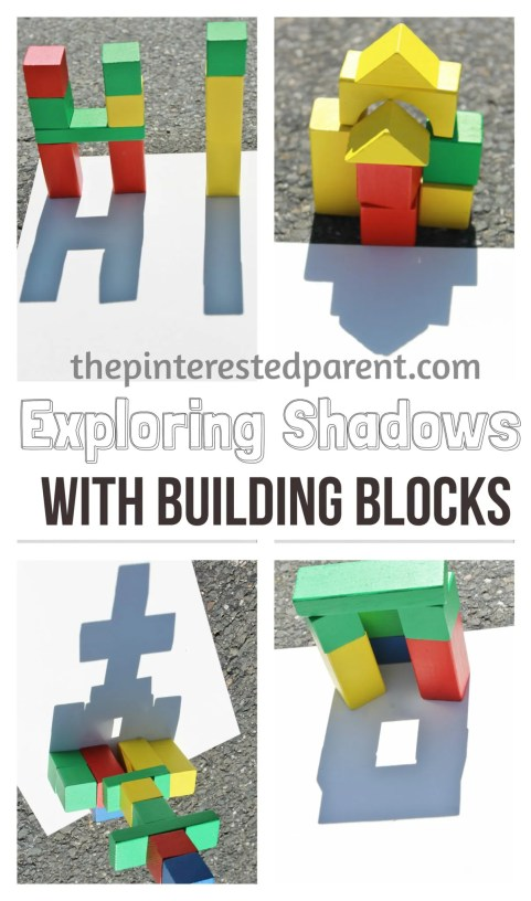 Exploring shadow & light with building blocks. This is a wonderful spring or summer activity that you can do with your kids while exploring shadow & light outdoors