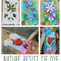 Nature Resist Tie Dye t-Shirts - These t-shirt designs were made from rocks, leaves, twigs & other things found in nature. This is a fun spring or summer art activity & craft for kids or for adults