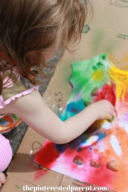 Nature Tie Dye Shirts . These t-shirt designs were made from rocks, leaves, twigs & other things found in nature. This is a fun spring or summer art activity & craft for kids or adults