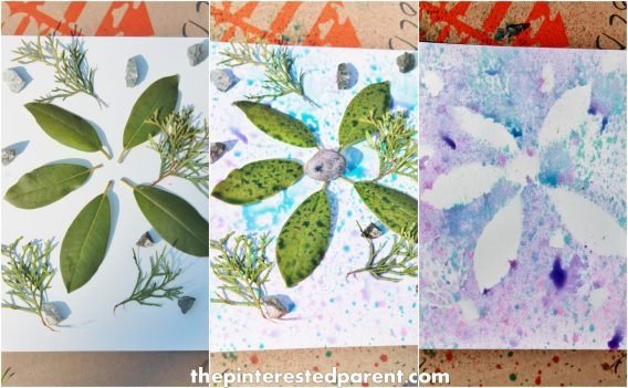 nature painting with food coloring paint spray