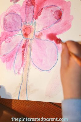 Georgia O'Keefe inspired watercolor flower paintings for kids - exploring art history & famous artists..