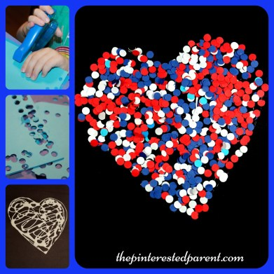 Paper hole punch red, white & blue confetti heart craft for kids. Arts & crafts for 4th of July