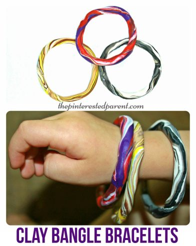 Easy to make clay bangle bracelet craft for kids . Polymer arts & crafts - jewelry.