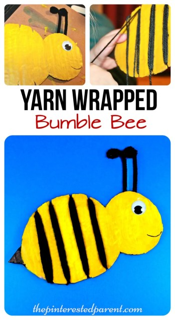 Yarn Wrapped bumble bee craft for the kids. a cute spring or summer craft & a great fine motor activity as well