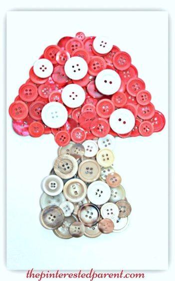 Button mushroom toadstool craft. A cute idea for a woodland themed or fairy tale kid's room.