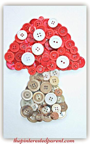 Button mushroom toadstool craft. A cute idea for a woodland themed or fairy tale kid's room