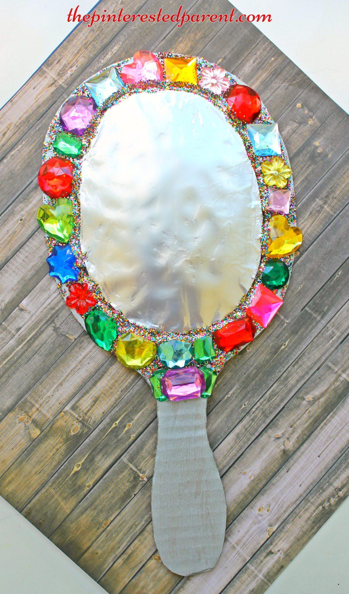 jeweled cardboard mirror