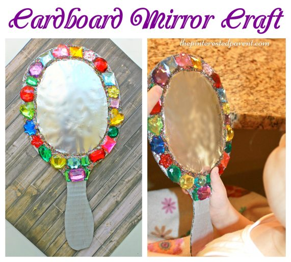 Cardboard jeweled mirror craft for kids - arts & crafts for pretend play - This would be fun for playing Snow White.