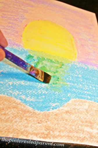 Chalk Watercolor Paintings for kids - easy arts & craft projects for children