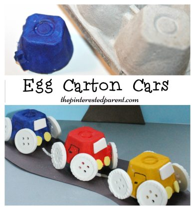 Simple Egg Carton Car craft for kids. Easy arts & crafts with recyclables.
