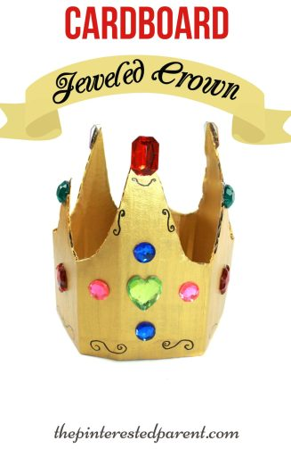 Jeweled Cardboard Crown Craft - great for pretend & role play. Kid's arts & crafts