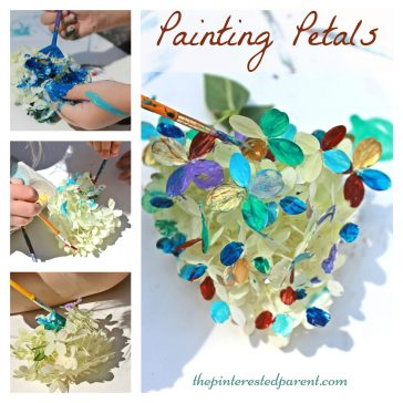 Painting flower petal - nature arts & crafts activities for kids. This is a wonderful spring & summer art project that you can do outdoors. Great for all ages..