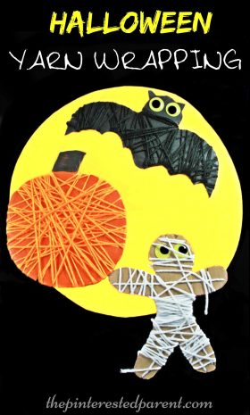 Yarn wrapped Halloween activity for the kids. Great for fine motor skills. Pumpkin, bat, & mummy arts & crafts