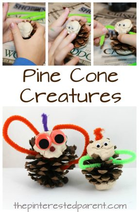 pine cone creatures. Use Pipe cleaners, clay and pinecones as an invitation to create a variety of creatures. Arts and crafts for kids with nature