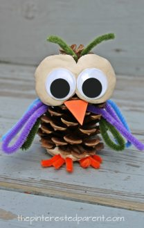 Pinecone and pipe cleaner animals. Check out our other pine cone animals. These are cute and easy to make. Use clay or play dough for this Owl craft for kids. Fall or autumn arts and crafts. Nature