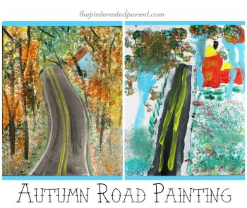 Fall Road painting tutorial. Step by step instructions on making autumn art - Kid's arts and crafts