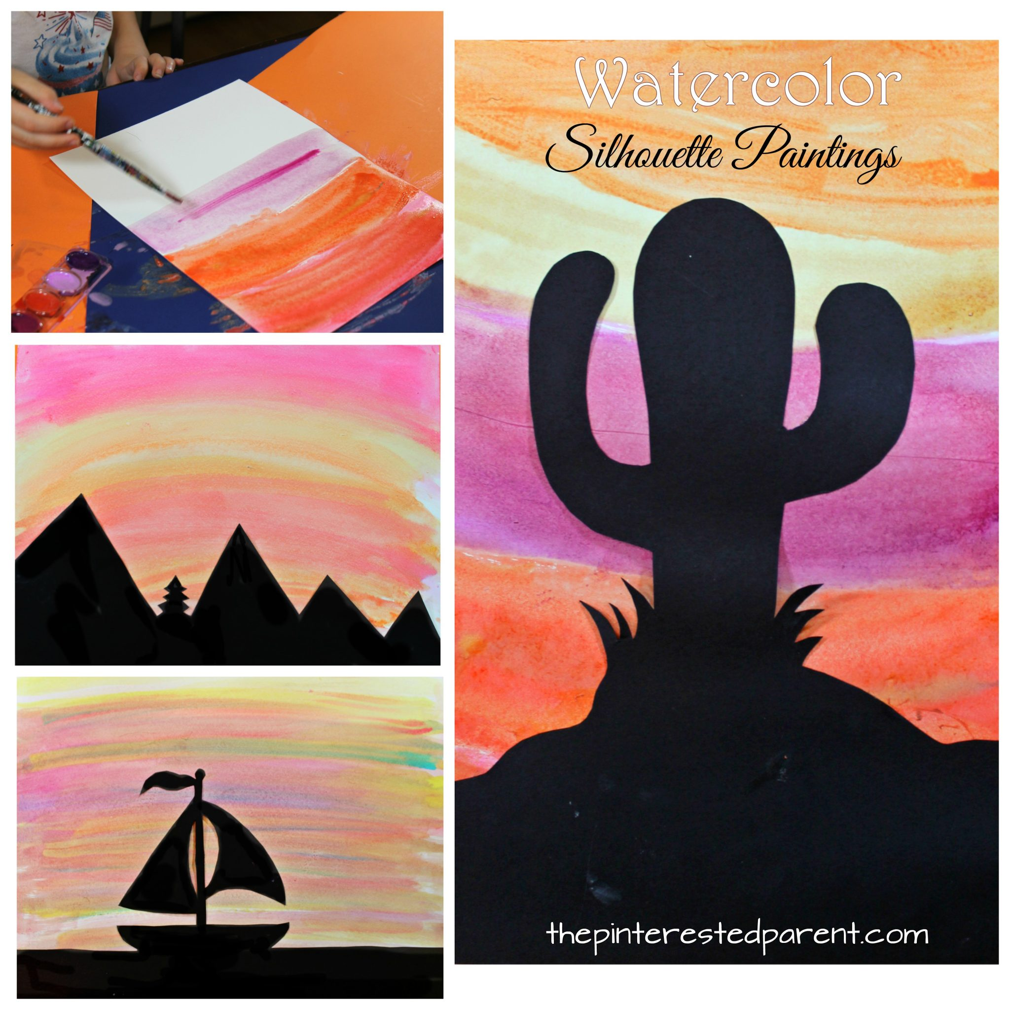 Watercolor Silhouette Landscapes The Pinterested Parent