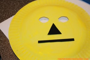 Using black foam or construction paper, cut out & glue your nose & eyes in place.