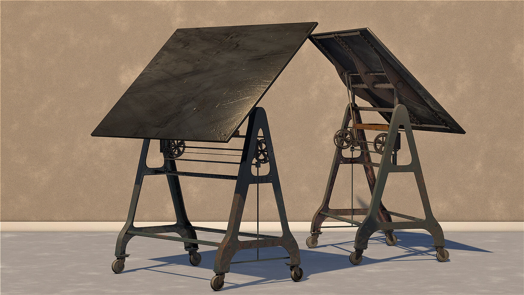 Cool Drafting Table Free Cinema 4d 3d Model Architectural Drafting Board