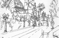 Pen and Wash Sketch of Prado Entrance Over Bridge to Balboa Park, San Diego