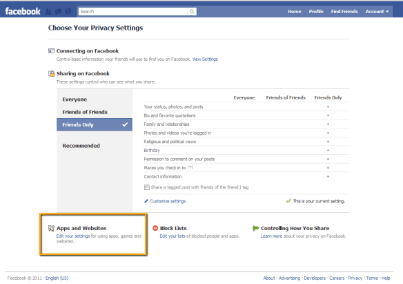Facebook Privacy Settings: Apps and Websites