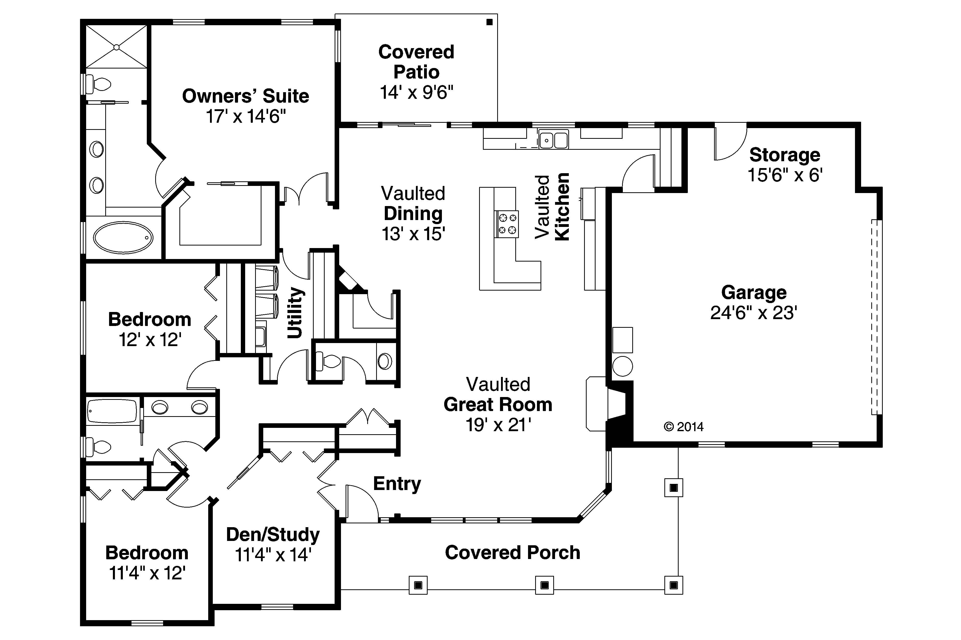 Us Homes Floor Plans Ranch Home Plan 3 Bedrms 2 5 Baths 2305 Sq Ft 108 1765