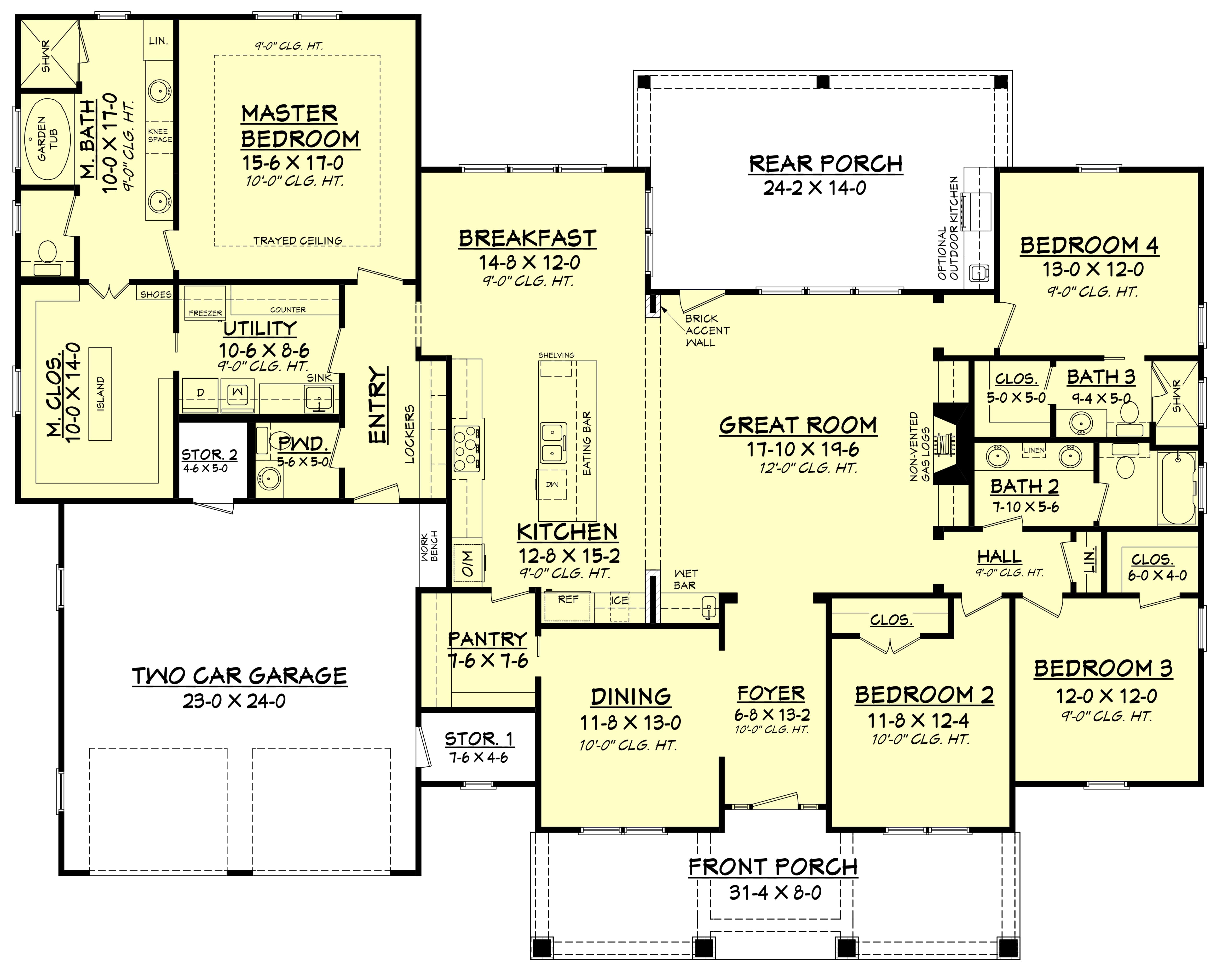 Complete House Plan 4 Bedrm 2759 Sq Ft Country House Plan 142 1181