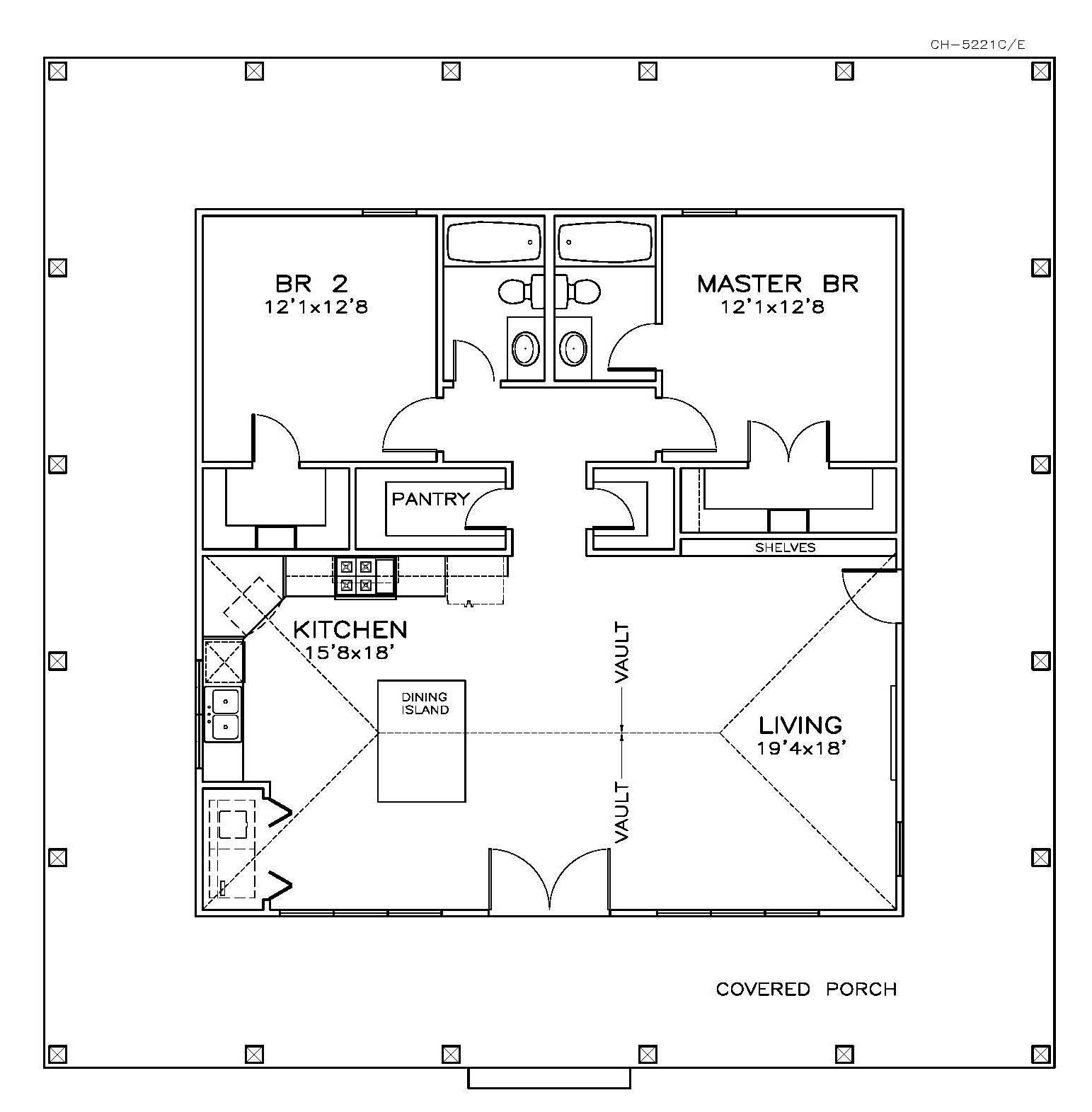 Bedroom Floor Cold Southern Home Plan 2 Bedrms 2 Baths 1225 Sq Ft 155