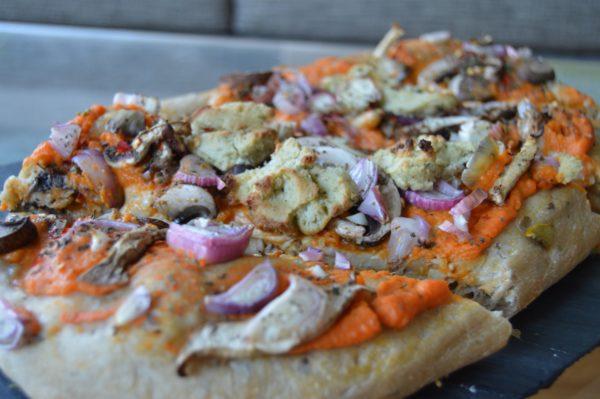 sweet potato mushroom pizza with vegan cheese